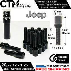 20 Jeep Black 12x1.25 Lug Bolt 1.57and039and039 40mm Shank Fit Cherokee/compass/renegade