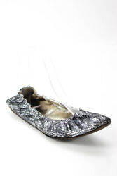Dolce and Gabbana Womens Metallic Round Toe Ballet Shoes Silver Size 38.5