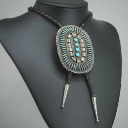 Turquoise Bolo Tie, Needlepoint Style, Navajo Jimmy Yazzie, Vintage Sterling C70