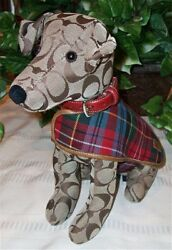 Coach Signature Stuffed Dog Jack Russell Terrier Toy JRT 8443 w Collar Jacket