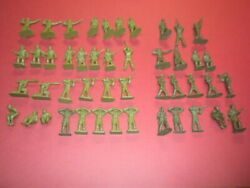 46 Green Army Men 1950's/1960's Marx Mpc Lot Military Toy Soldiers Vintage
