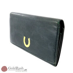 Auth Gucci Women's Leather Long Bill Wallet (tri-fold) Dark Green $138.00