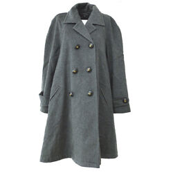 Cc Button Double Breasted Long Sleeve Coat Jacket Gray Authentic Gs01971c