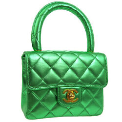 CHANEL Quilted CC Logos Mini Hand Bag Purse Metallic Green Leather VTG NR14036