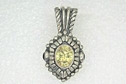 Yellow Cz Antiqued Pendant Charm Enhancer Clasp 11.3g Real Solid Sterling Silver