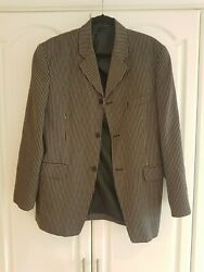 Funky Trendy Menand039s Woods And Gray Brown Striped Jacket Blazer Size M