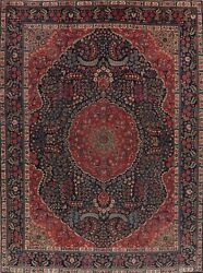 Antique Vegetable Dye Geometric Khoy Area Rug Navy Blue Hand-made Carpet 10and039x13and039