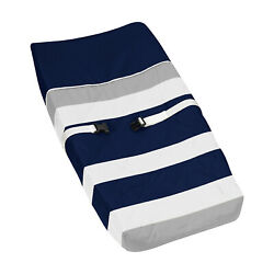 Sweet Jojo Changing Table Pad Cover For Navy And Gray Stripes Boys Baby Bedding
