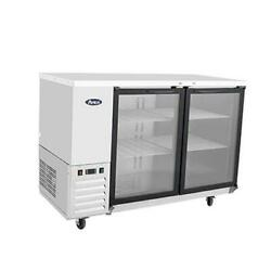 Atosa Mbb48ggr 48 Double Glass Door Stainless Steel Back Bar Refrigerator