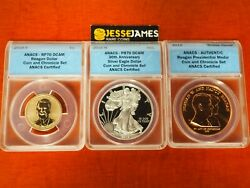 2016 W Proof Silver Eagle Anacs Pr70 Ronald Reagan Rp70 Coin And Chronicles Set
