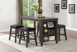 Grey Wood Counter Height Storage Dining Table 4 Grey Stools Furniture Sale