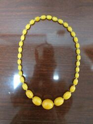 Butterscotch Egg Yolk Baltic Amber Necklace Graduated Olive Shape Beads 83 Grams