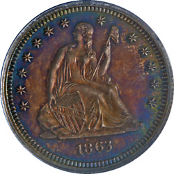 1863-p Seated Liberty Quarter Proof Civil War Date Pcgs Pr64 Great Eye Appeal