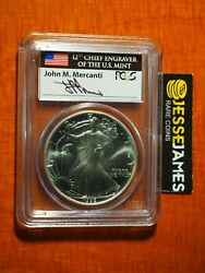 1992 1 American Silver Eagle Pcgs Ms69 Flag Mercanti Signed First Strike Label