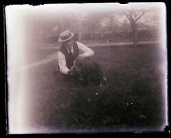 Late 1800s Early 1900s Glass Negative,  Man And Dog