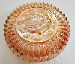 Vintage Rose Image Round Covered Candy Dish Fire Orange Glass Carnival