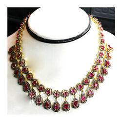 925 Sterling Silver Natural Ruby Rose Cut Victorian Style Real Diamond Necklace