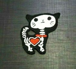 X RAY CAT BLACK LOVE HEART Skeleton CARTOON Embroidered Patch Iron On Sew Logo $2.83