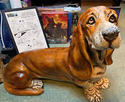 "VINTAGE RARE 29"" BASSET HOUND DOG CERAMIC FIGURINE STATUE MADE IN ITALY 30 Lbs."