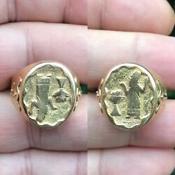 Antique Roman Style 18ct Gold Signet Ring Carving Zoroastrian Religion Man torch