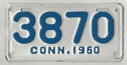 1960 Connecticut Motorcycle License Plate Tag 60 Ct Conn Mc  3870