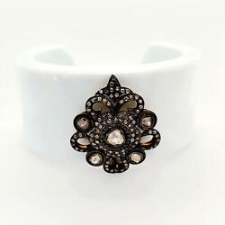 Rose Cut Diamond Cuff Bangle Sterling Silver Vintage Jewelry Accessory For Her