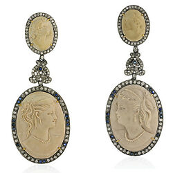 Pave Diamond Sterling Silver Sapphire Gemstone Carved Dangle Earrings 18k Gold