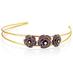 18k Gold Pave Ruby Floral Headband Sterling Silver Diamond Girl Jewelry