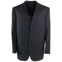 Nwt 5995 Brioni Charcoal Gray Stripe Lightweight Super 150s Wool Suit 44 R