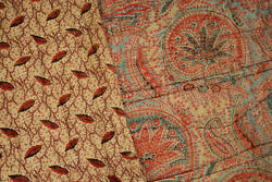 Antique Quilt Large French Paisley And Foliage Patterns Whole Cloth Hand Printed