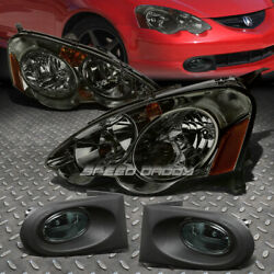 SMOKED HOUSING CRYSTAL TINTED HEADLIGHTAMBER CORNERFOG LIGHT FOR 02 04 RSX DC5 $107.76