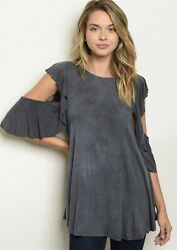 NWT Boutique Designer Charcoal Gray Flutter Sleeves Tunic Top Trendy S M L HOT!