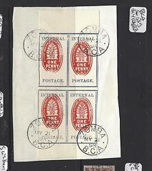 British Central Africa Pp1208b Check Stamp 1898 Imper Sg55b Bl Of 4 Son Cds F