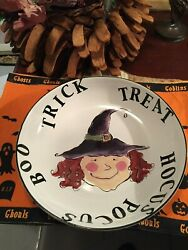 Halloween Red Curly Haired Witch's Face Ceramic Candy Dish/bowl By Rosanna 13
