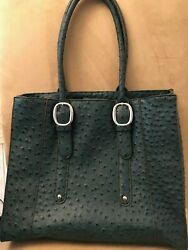 NOATD 8831628 No.8833313 Green ostrich design Leather  Large shoulder bag