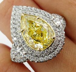 GIA 7.66CT ESTATE FANCY YELLOW PEAR DIAMOND 3 STONE ENGAGEMENT WEDDING RING HALO