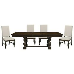 Rustic Country 5 Pc Style Dining Table Off White Parsons Chairs Furniture Set