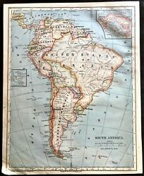 Vintage Color Map South American United States Of Brazil Printed 1883