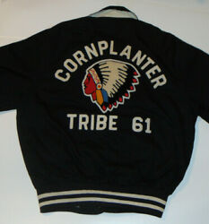 Vintage 1950s 'cornplanters Tribe' Cotton Athletic Jacket Indian Patches Med
