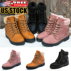 Women's Snow Ankle Boots Winter Leather Fur Lining Warm Waterproof Lace-Up Shoes