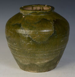 Han Dynasty Antique Chinese Green Glazed Pottery Jar