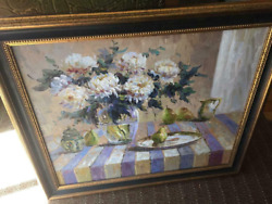 Original Large Framed Oil Painting Flowers Glass Vase Pitcher Pear White Purple