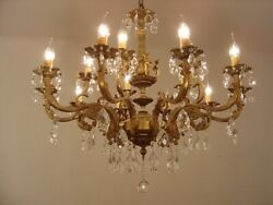 LARGE BRONZE CRYSTAL FRENCH CHANDELIER LAMP 15 LIGHT HOME DECOR HALL ENTRYWAY