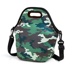 Neoprene Lunch Bag for Men Camo Insulated Lunch Box Kids Picnic Travel Tote Bag $9.99