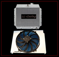 Radiator And Shroud And 16 Fan For 49-54 53 52 51 Chevy Bel Air Fleetline Deluxe V8