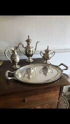 Antique 19th C Italian 4 Piece Teaset Coffee Tray Suger Bowl Jug Model As Swan