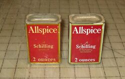 2 Different Vintage Schilling Allspice 2oz Red Spice Tins W/some Product Inside