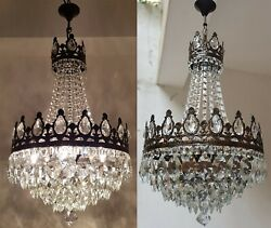 Matching Pair Of Antique Vintage Brass And Crystals French Large Chandeliers