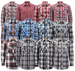 Men's Western Pearl Snap Button Down Casual Long Sleeve Plaid Cowboy Shirt $23.99