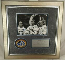 Apollo 14 Crew Signed Photograph Display Shepard, Roosa, Mitchell Authenticated
